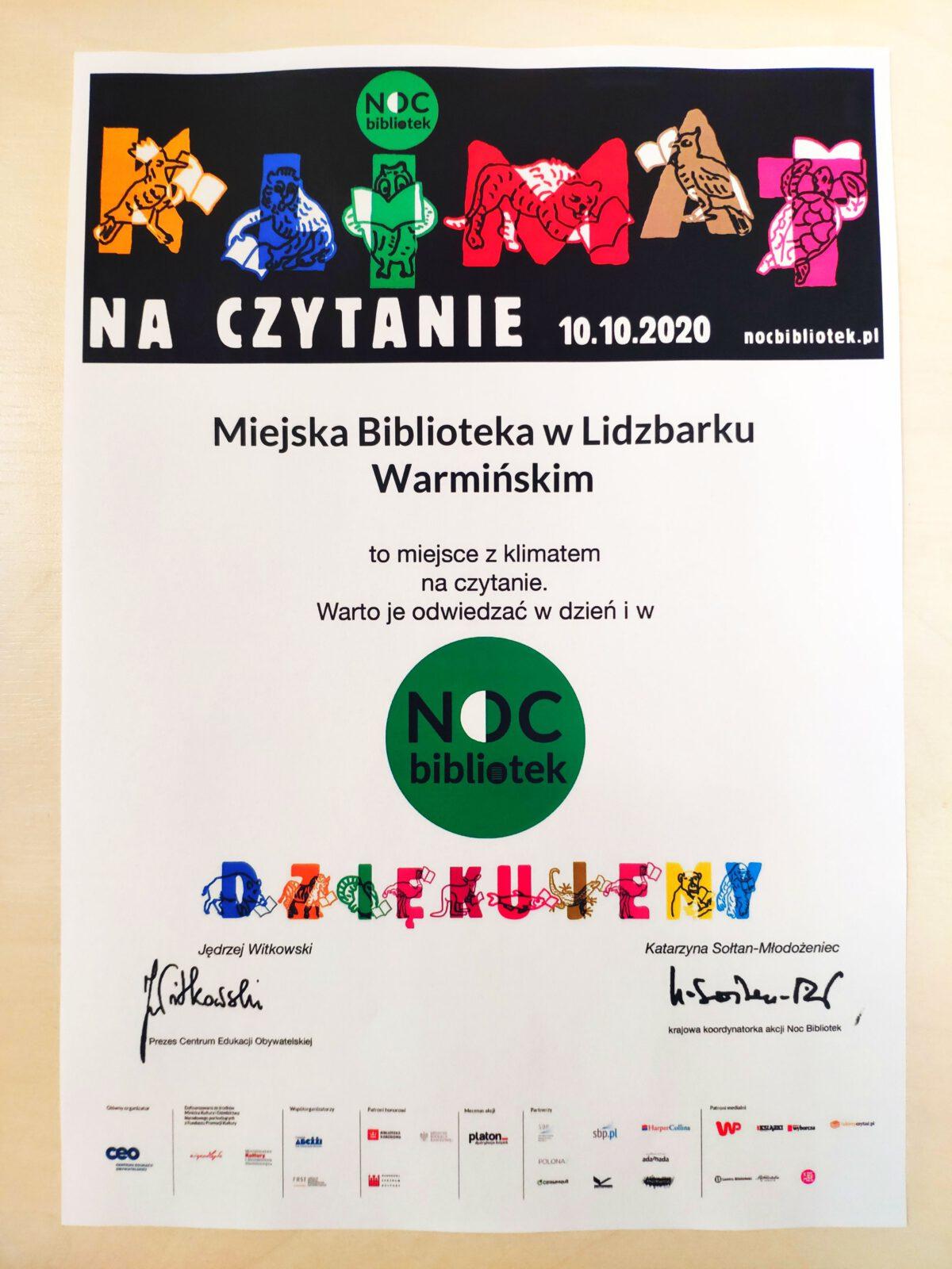 Miejska Biblioteka w Lidzbarku Warmińskim to miejsce z klimatem na czytanie. Warto je odwiedzać w dzień i w Noc Bibliotek. Otrzymaliśmy podziękowanie od organizatora.