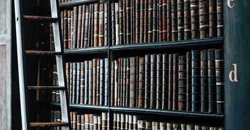 obraz przedstawiający regał z książkami