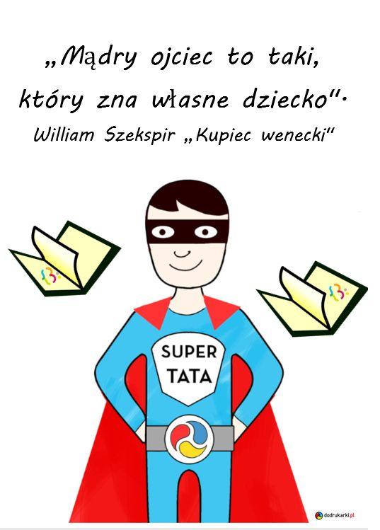 Ilustracja przedstawiająca na środku mężczyzne w niebiesko-czerwonym stroju supermena z napisem supertata. wokół niego umieszczone sa w powietrzu dwie otwarte książki z logiem Miejskiej Biblioteki Publicznej w Lidzbarku Warmińskim.