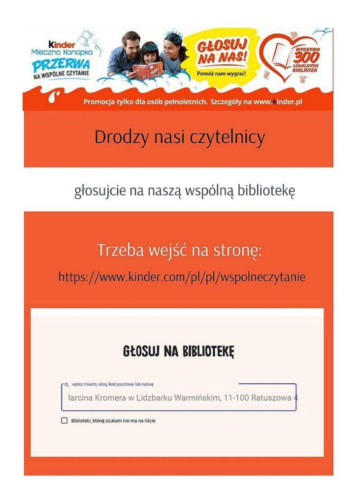 Plakat w kolorze pomarańczowym informującym o konkursie w której Miejska Biblioteka Publiczna bierze udział Konkurs Kinder Mleczna Kanapka Przerwa na Wspólne czytanie