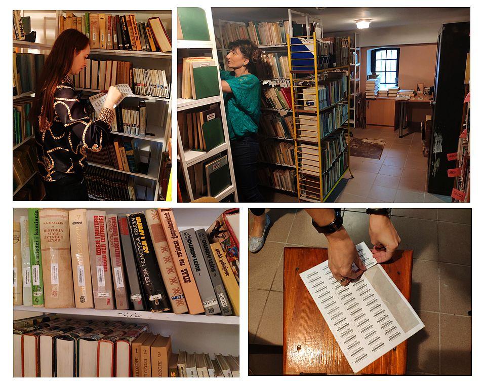 kolaż kilku zdjęć przedstawiający prace bibliotekarzy w magazynie przy księgozbiorze.