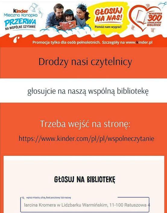 Plakat na pomarańczowym tle informacja o konkursie w którym biblioteka uczestniczy Konkurs Kinder Mleczna Kanapka Przerwa na wspólne czytanie